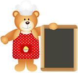 Cook teddy bear with slate board
