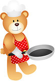 Teddy bear with skillet