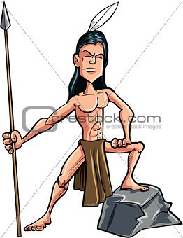 Cartoon American indian brave with a spear