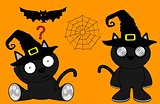 halloween cute black cat witch cartoon set 8