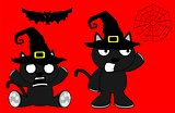 halloween cute black cat witch cartoon set 7
