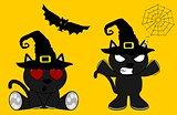 halloween cute black cat witch cartoon set 6