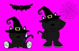 halloween cute black cat witch cartoon set 5