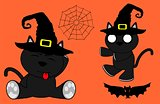 halloween cute black cat witch cartoon set 3