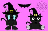 halloween cute black cat witch cartoon set