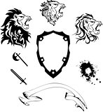 heraldic lion head coat of arms tattoo set1