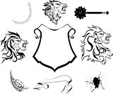 heraldic lion head coat of arms tattoo set