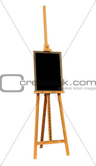Blank painting and wooden easel