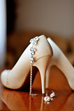 Wedding shoes and earrings