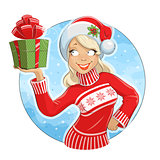 Girl in Santa Claus costume with gift box