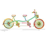 Tandem bicycle in colors