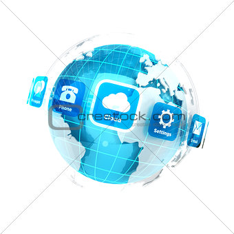 3d earth with applications icons