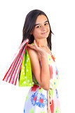 happy shopping teenager girl
