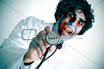 a zombie doctor with the word fear written in his stethoscope