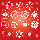 red snowflakes set