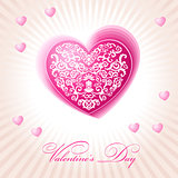 abstract floral heart happy valentine day pink