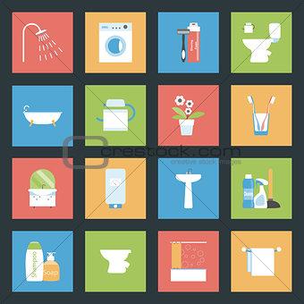 Bathroom flat icons set
