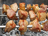 Shish kebab on metal skewers