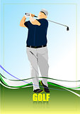 Golf player poster. Vector illustration