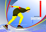 Speed skating poster. Vector illustration
