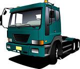 Green  truck. Lorry. Trailer. Vector illustration