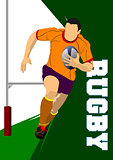 Rugby Player Silhouette. Vector illustration