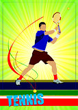 Man tennis player. Colored Vector illustration for designers