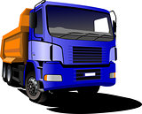 Blue yellow  truck. Lorry. Trailer. Vector illustration