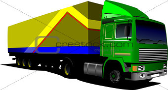 Green  truck. Lorry. Trailer. Vector illustration