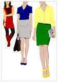 Cute shopping lady poster. Vector colored illustration