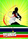Woman tennis player poster. Vector illustration for designers