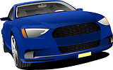 Blue car sedan on the road. Vector illustration