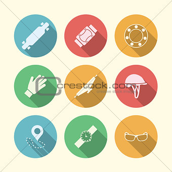Flat vector colored icons for accessories for longboarders