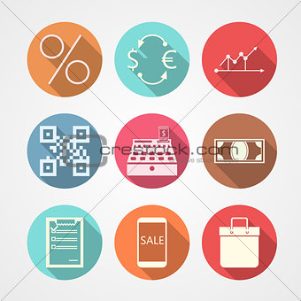 Flat vector icons for e-commerce