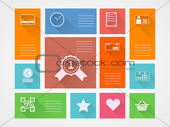 Flat square vector icons for internet purchase