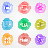 Creative colored vector icons for trade online