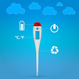 Vector illustration of electronic medical thermometer
