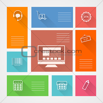 Flat square vector icons for web store