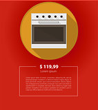 Vector ad layout for kitchen appliances. White oven.