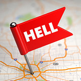 Hell - Small Flag on a Map Background.