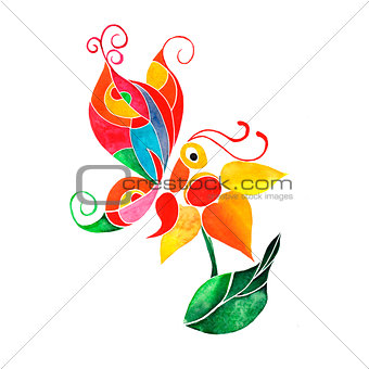 Abstract watercolor butterfly on a flower, vector