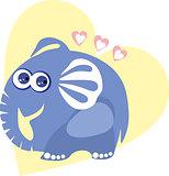 Cute elephant in love - vector illustration