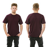 Man posing with blank dark purple shirt