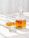 Whisky decanter and rocks glass