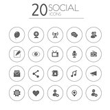 Social thin icons on white background