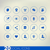 Social thin icons on modern blurred light background