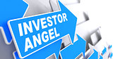 Investor Angel on Blue Direction Arrow Sign.