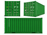 Green Cargo Container in 3D Isolated on White.