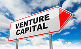 Venture Capital on Red Road Sign.