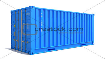 Blue Cargo Container Isolated on White.